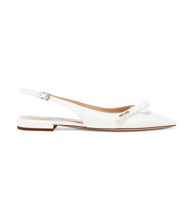 Prada Textured-Leather Slingback Flats