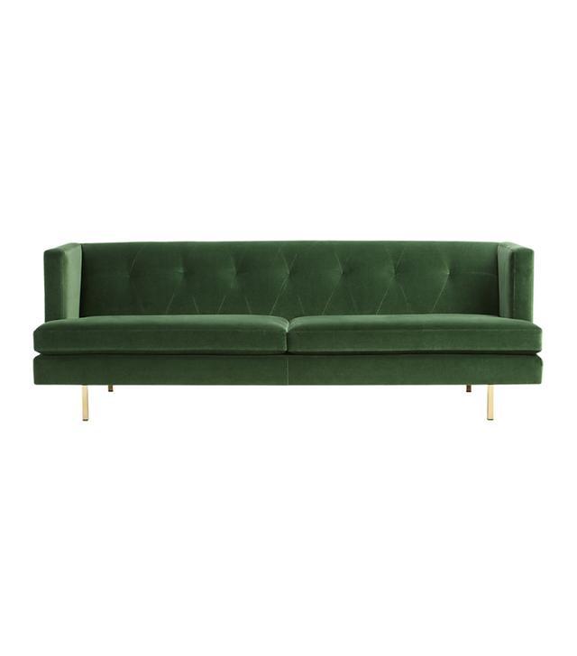 CB2 Avec Emerald Green Sofa with Brass Legs