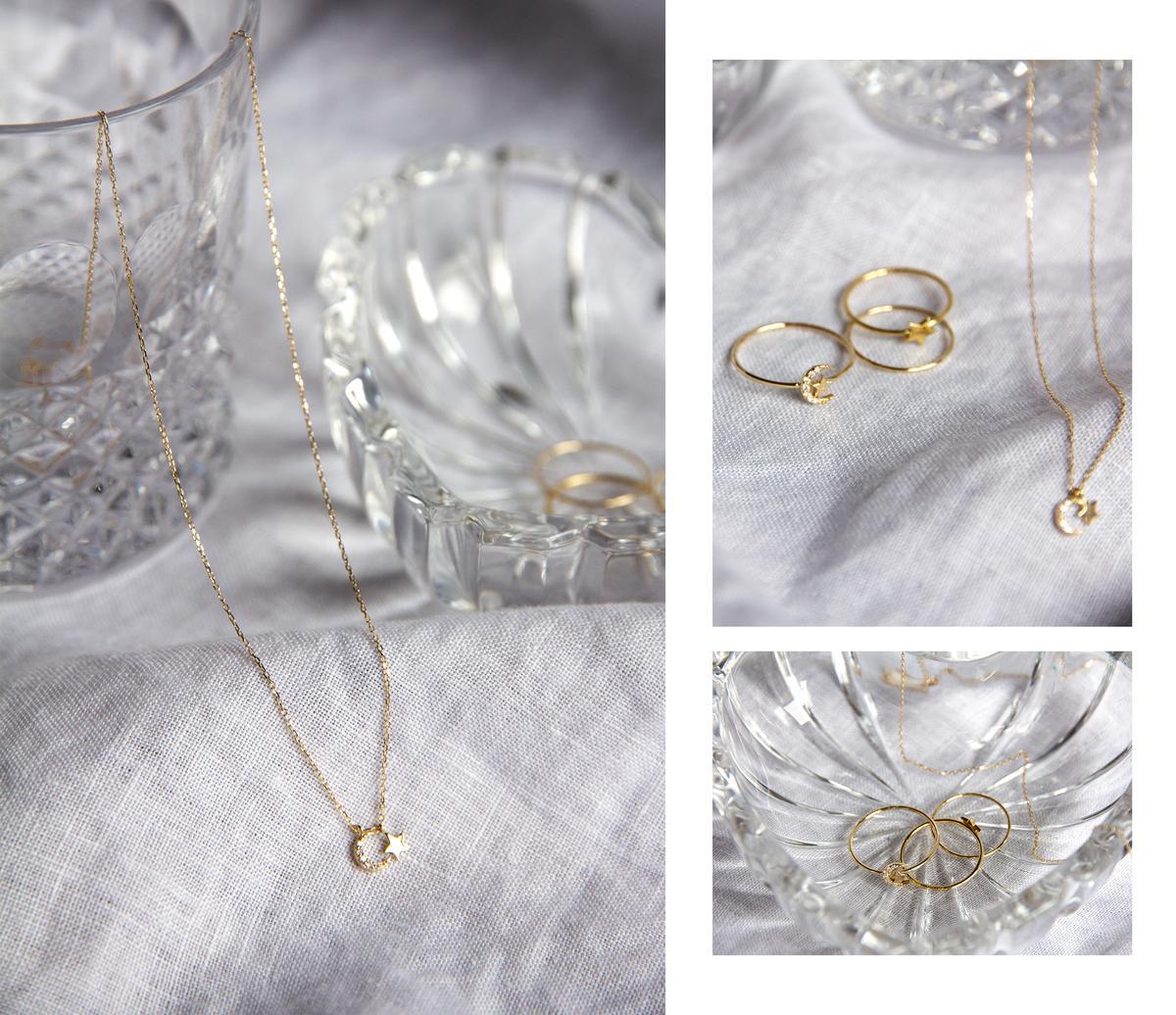 "<h5><em>By Charlotte<a href=""https://bycharlotte.com.au/products/14k-gold-evening-sky-necklace"" target=""_blank"">14K Gold Diamond Evening Sky Necklace</a> ($469),<a..."