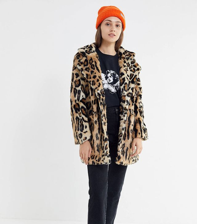 Apparis Margot Leopard Print Faux Fur Coat