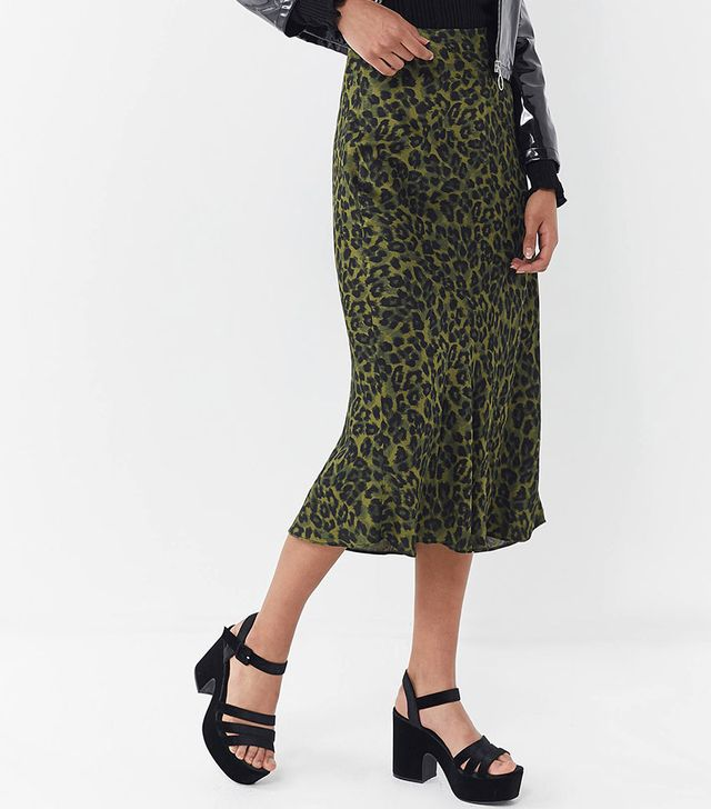 Urban Outfitters Leopard Print Satin Midi Skirt