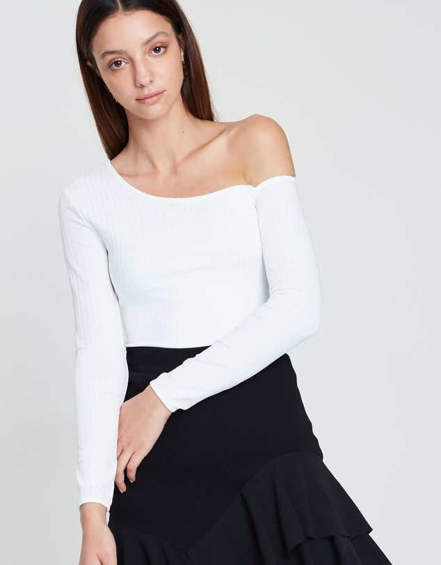 By Johnny One Cold Shoulder Ribbed Top