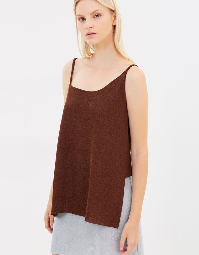 Kacey Devlin Asymmetrical Metallic Short Back Cami