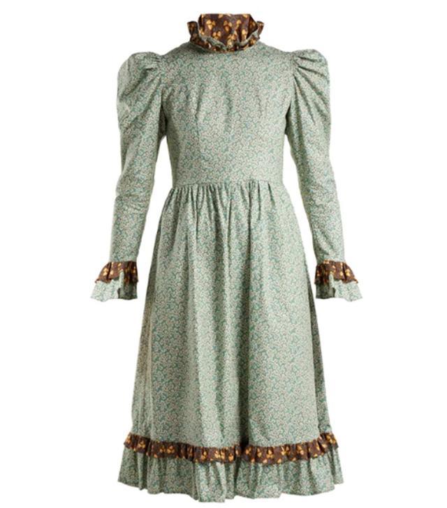 Batsheva Floral-Print Ruffle-Trimmed Prairie Dress