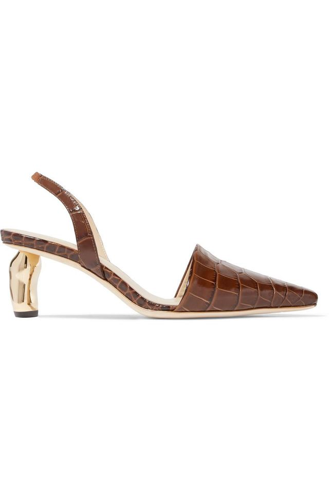 Rejina Pyo Conie Croc-effect Leather Slingback Pumps