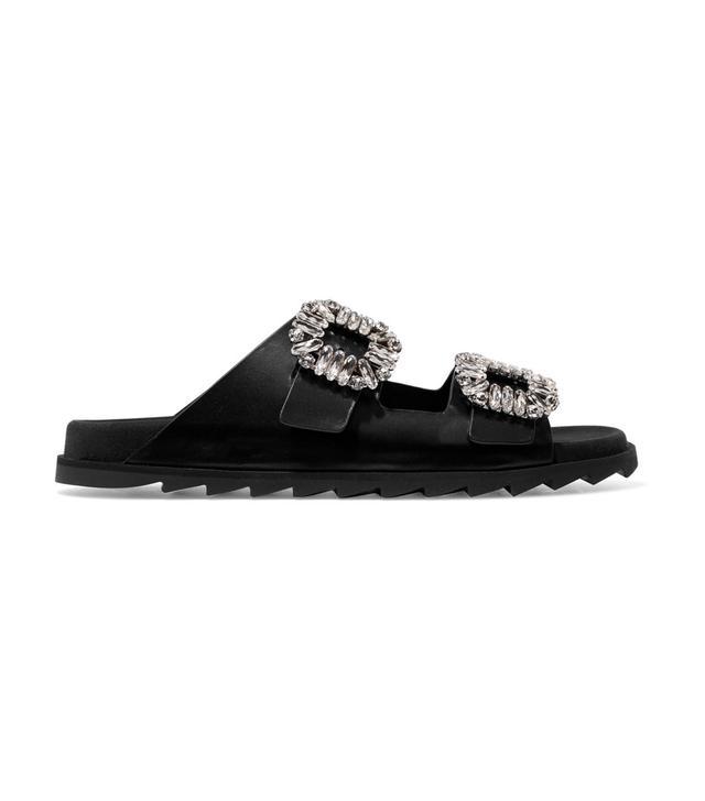 Roger Vivier Slidy Viv Crystal-Embellished Leather Slides