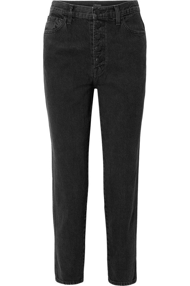 J Brand Heather Cropped High-Rise Straight-Leg Jeans