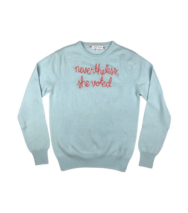 Lingua Franca Nevertheless She Voted Cashmere Sweater