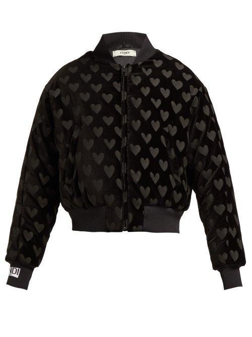 Fendi Heart Motif Velvet Bomber Jacket