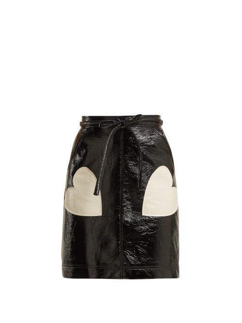 AlexaChung Heart Appliqué PVC Skirt