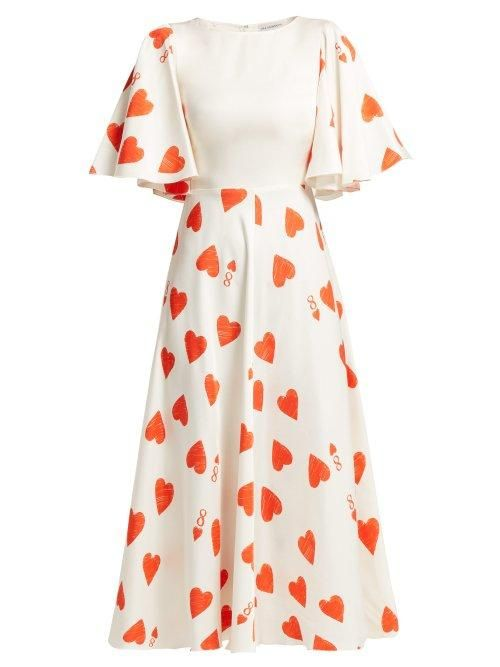 Vika Gazinskaya Heart Print Silk Blend Satin Twill Dress