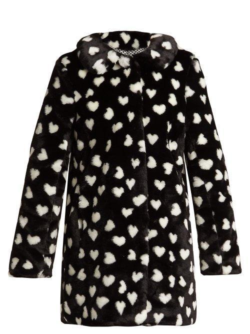 HVN Courtney Heart Print Faux Fur Coat