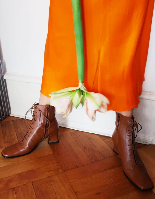 83f62abea7df6 Best lace-up boots  Trine Kjaer wearing By Far lace up boots
