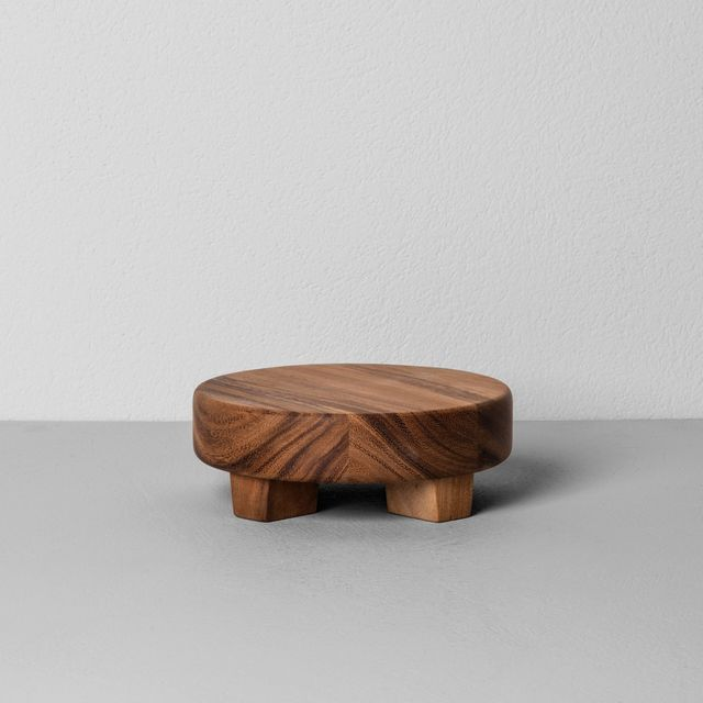 Hearth & Hand Acacia Wood Round Footed Tray