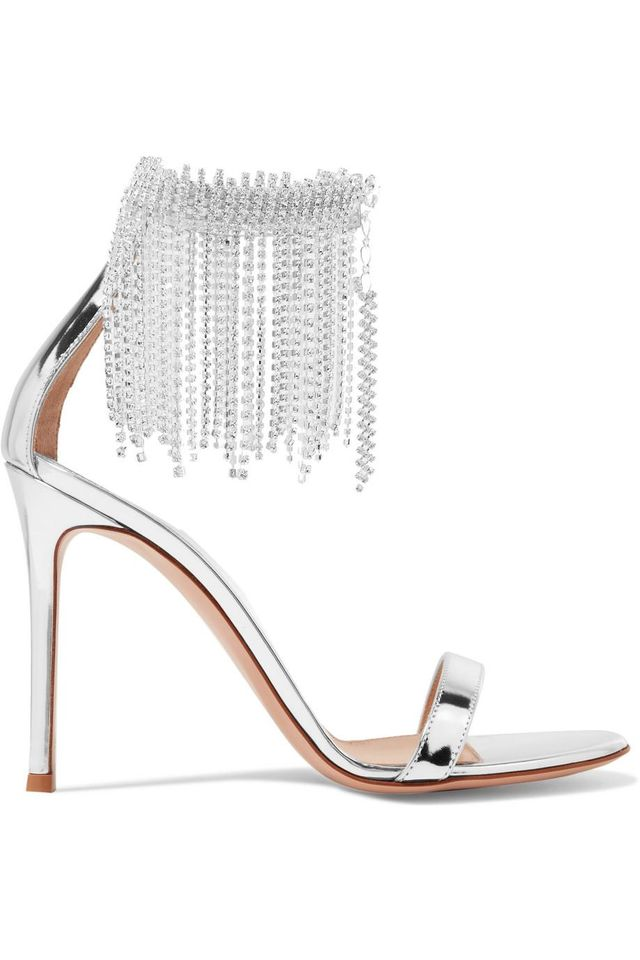 Gianvito Rossi 100 Crystal-embellished Metallic Leather Sandals