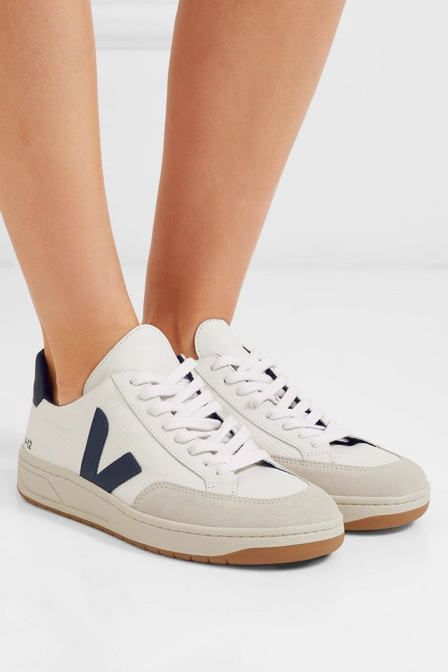 Veja V-12 Mesh and Leather Sneakers