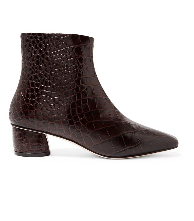 LOQ Matea Croc-Effect Leather Ankle Boot