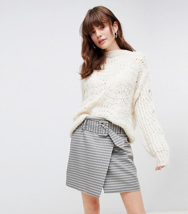 ASOS DESIGN  Mini Skirt with Self Belt in Heritage Check