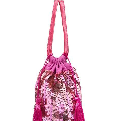 Tasseled Sequin Drawstring Bag
