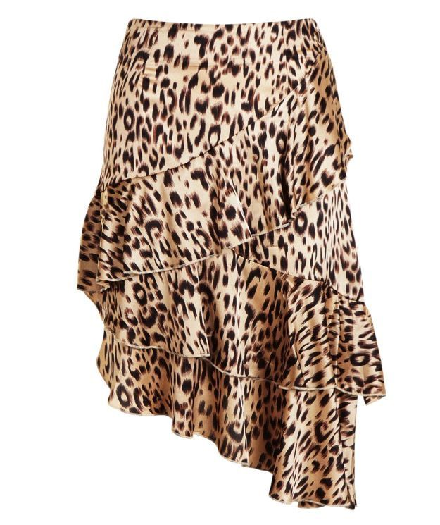 Boohoo Leopard Print Ruffle Midi Skirt