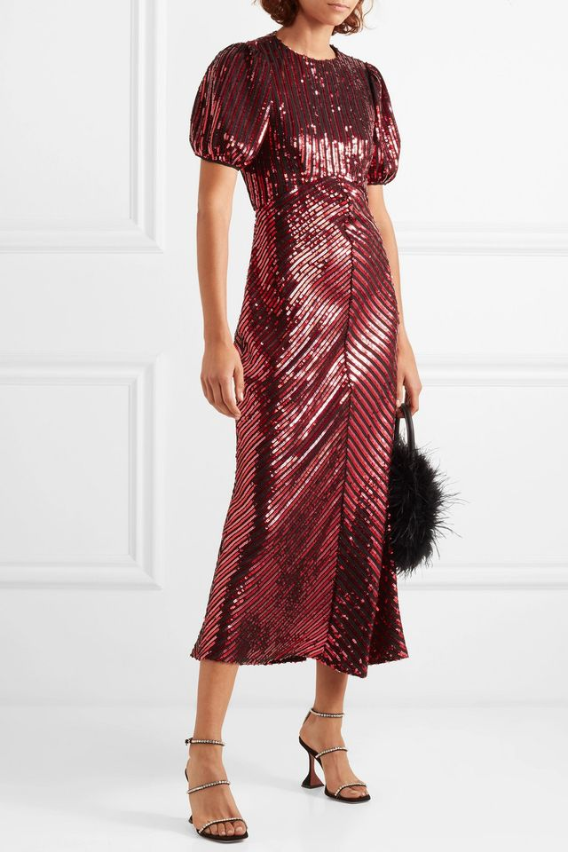 Rixo London + Laura Jackson Daisy Velvet Trimmed Sequin Midi Dress