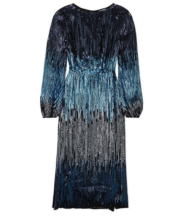 Rixo London Coco Ombré Sequined Tulle Midi Dress