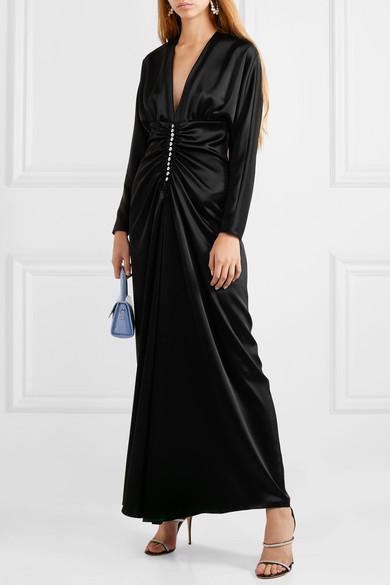 Racil Rita Crystal-Embellished Satin Maxi Dress