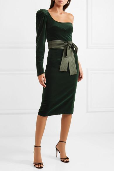 Silvia Tcherassi Dianora One-Shoulder Cotton-Blend Velvet Midi Dress