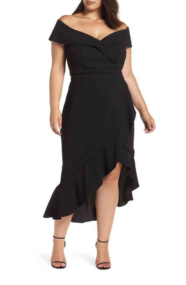 Xscape Off-the-Shoulder Ruffle Midi Dress