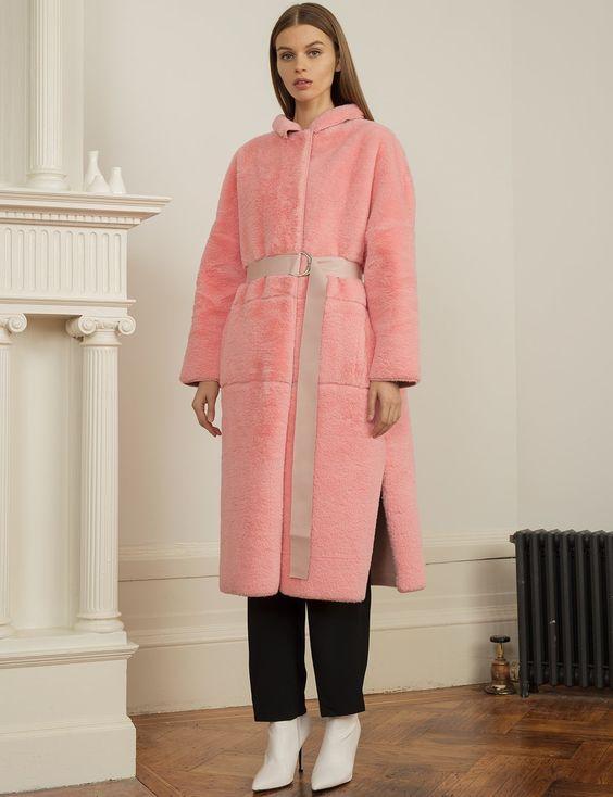 Pixie Market Long Pink Faux-Fur Coat
