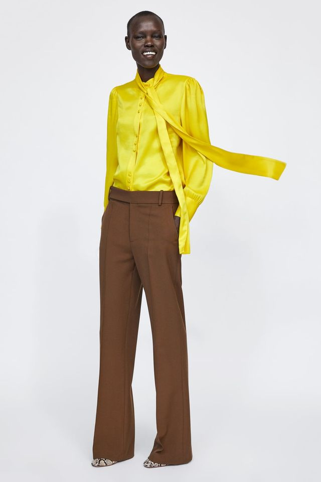 Colors that Go with Gray  and Yellow Satin Blouses