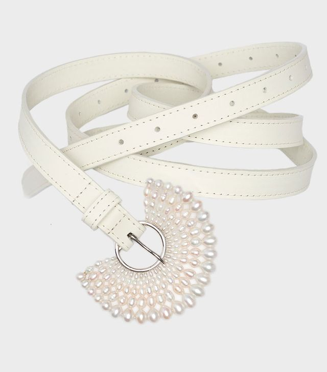 Danielle Frankel Oyster Pearl and Leather Belt