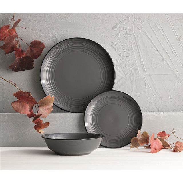 Ambrosia Orbit Dinner Set 12 Piece Charcoal