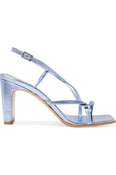 By Far Carrie Metallic Leather Slingback Sandals