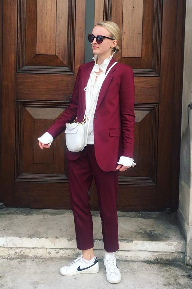d8fb04f32388 Shoes capsule wardrobe  Joy Montgomery wearing Baukjen suit and Nike  trainers