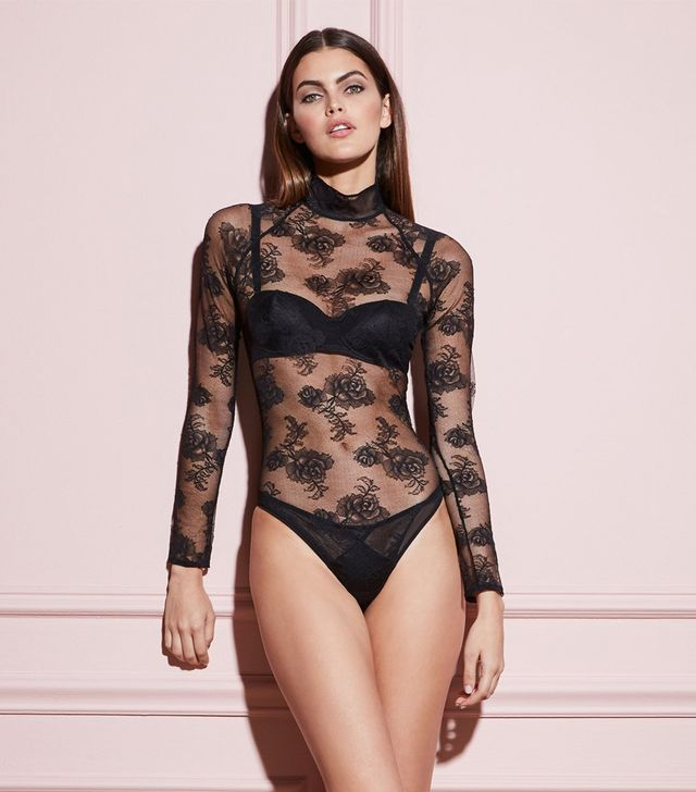 Fleur du Mal Bouquet Lace Turtleneck Bodysuit