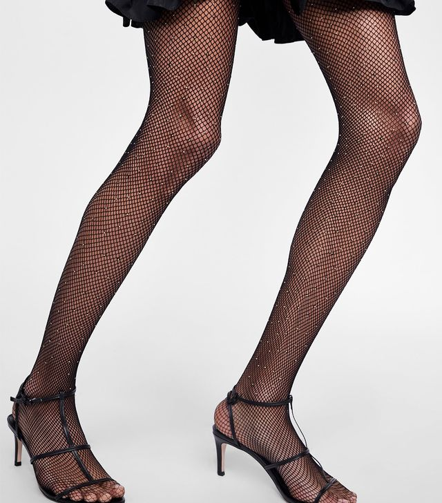 Zara Fishnet Tights With Small Metallic Studs
