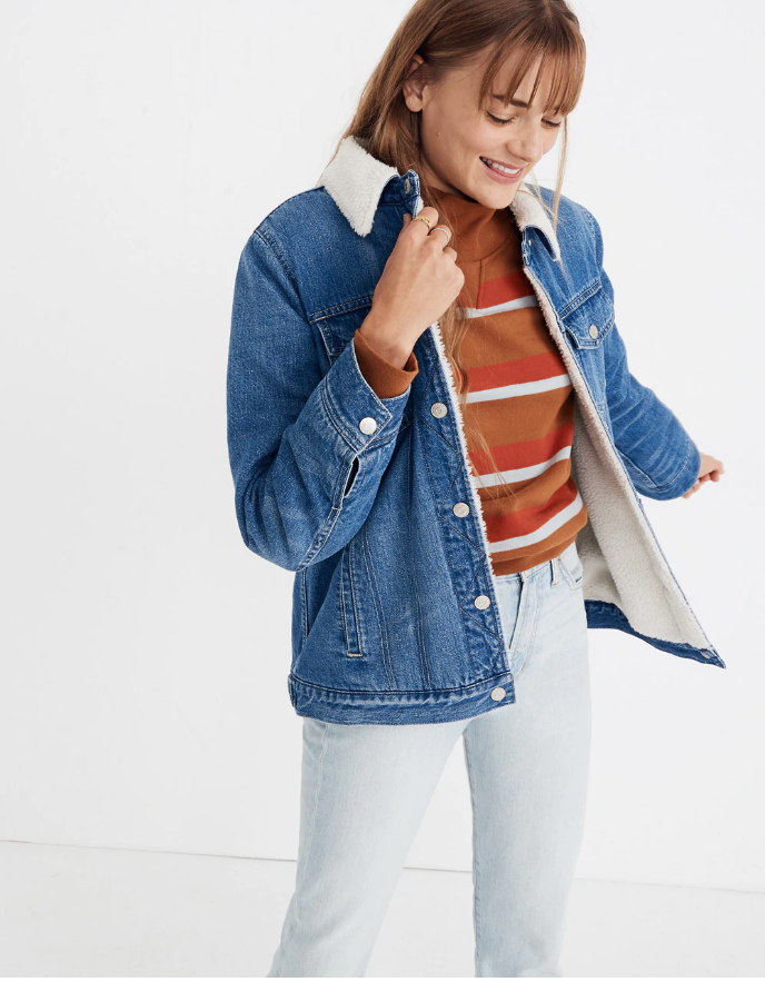d5fb43a4bcdb Madewell The Oversized Jean Jacket in Pinehill Wash  Sherpa Edition ( 168)