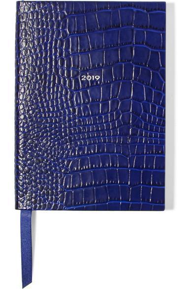 Smythson Soho 2019 croc-effect leather diary