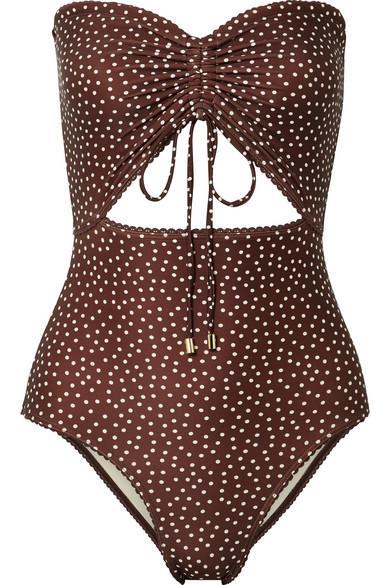 Peony Swim Cutout Ruched Polka-Dot Bandeau Swimsuit