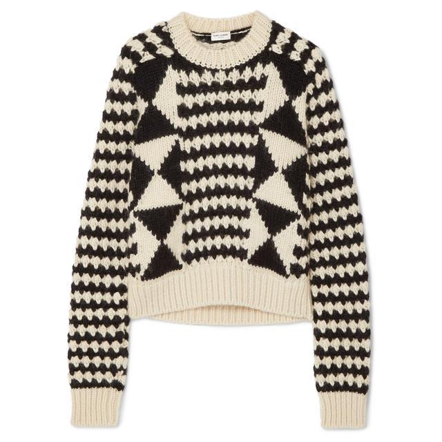Saint Laurent Cable-Knit Wool-Blend Sweater 775