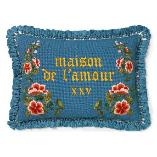 Gucci Needlepoint Cushion With Flowers