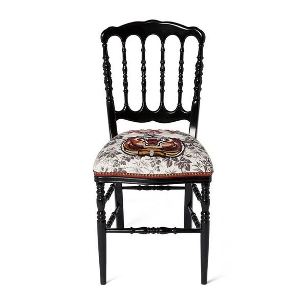 Gucci Wood Chair With Embroidered Tiger