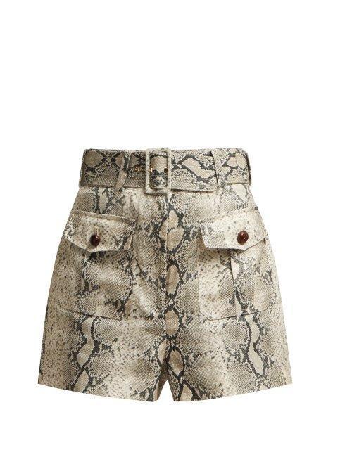 Zimmermann Corsage Snake Print Linen Shorts