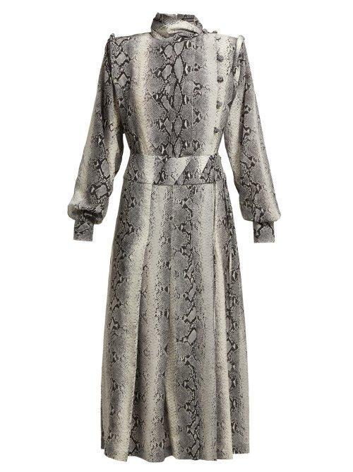 Alessandra Rich Python Print Pleated Silk Dress