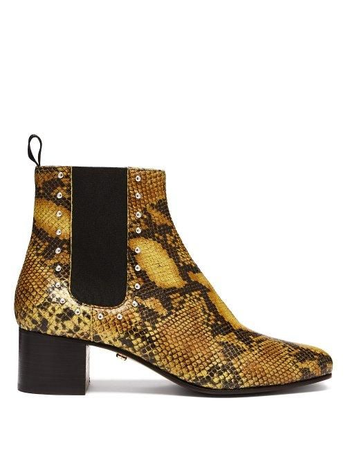 AlexaChung Python Print Leather Chelsea Boots
