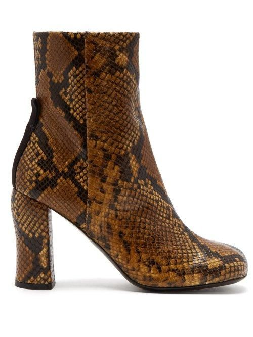 Jospeh Groucho Python Effect Leather Ankle Boots