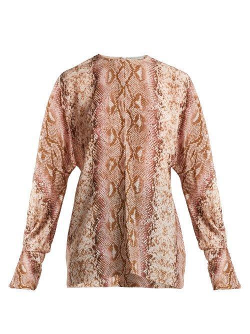 Emilia Wickstead Dalia Python Print Silk Crepe de Chine Blouse