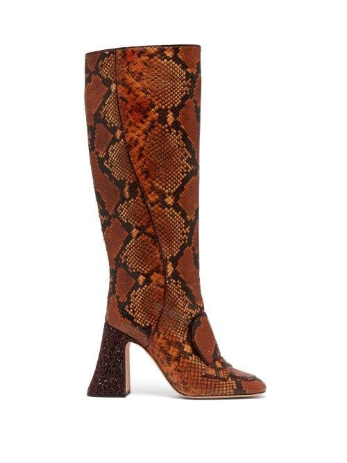 Rochas Pascal Glitter Heel Faux Python Knee High Boots