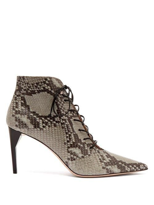 Miu Miu Python Effect Leather Ankle Boots